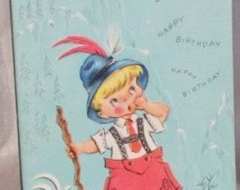 Vintage Birthday Card with Adorable Little Boy