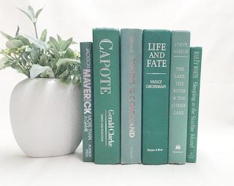 Teal Decorative Books, Shelf Decor, Modern Home Accents