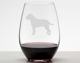 Bullmastiff Wineglass, Bullmastiff Gift, Mastiff Wine Glass, Etched Stemless Wineglass