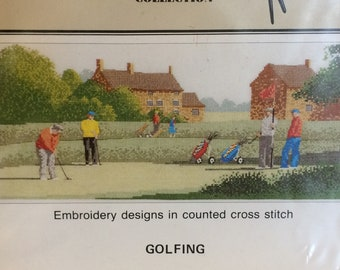 Counted Cross Stitch Chart   -  GOLFING  -   A  Heritage Stitchcraft publication.