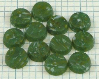 12 9mm Flat Jade Cabochons