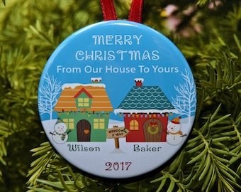 From Our House To Yours - Neighbor Ornament Gift - winter scene - personalized - C250