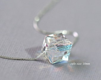 Swarovski Cube Necklace, Sterling Silver Necklace, Layering Necklace, Everyday Necklace, Casual Necklace, Minimalist Necklace, Gift for Her