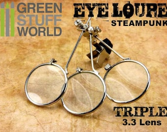 SteamPunk EYE LOUPE -TRIPLE magnifier magnifying - Clip On Type - Loopy