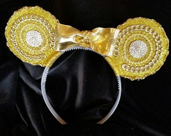 Gold bling Mouse Ear Headband with bow