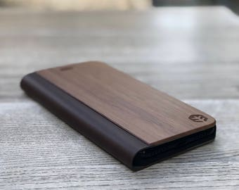 OXSY Wood iPhone Case | Wood iPhone 6/7/8 Folio Case / iPhone 6/7/8 Flip Case | iPhone 6/7/8 Walnut Wood Case