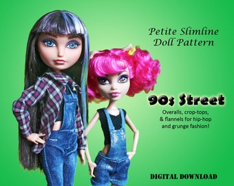 Easy 90s Street Wear Overalls Doll Clothes PDF Sewing Pattern for Petite Slimline girls: High, Ever After, Monster, Dal, obitsu, Super Hero