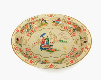 Vintage Asian Oriental Painted Metal Tray // Daher Bowl // Chinoiserie Tray // Vanity Tray