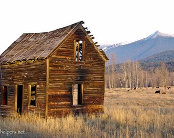 Grave Creek School House, Montana Barn, Old Building, Once Upon a Time Photograph or Greeting card