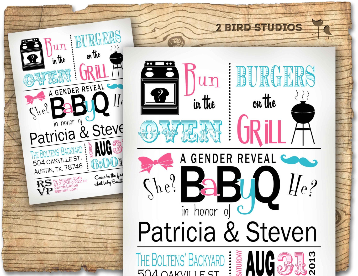 Gender reveal invitation baby q barbecue baby shower for