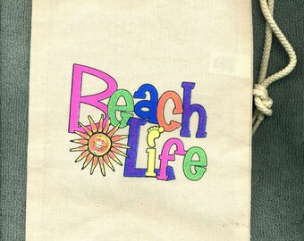 Beach Life  Wine or Spirits New Cloth Tote Bag Gift Idea, Parties