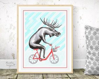 Cycling moose, biking moose, moose on bike, moose drawing, 5x7, 8x10 and 11x14