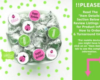 Pink Ladybug Chocolate Kiss Stickers - Pink Ladybug Stickers - Ladybug Stickers - Ladybug Candy Stickers - Digital or Printed Stickers