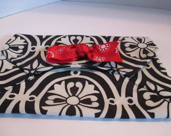 Clutch purse, bags and purses, black, white,  red bow, handbag, informal, evening, decorator fabric,