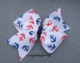 Anchor Half Pinwheel Bow, Red White Blue  Bow--Patriotic Bow--July 4th Hair Bow --Half Pinwheel--Girls Bow--