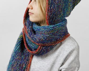 Hand knitted scarf with a hood