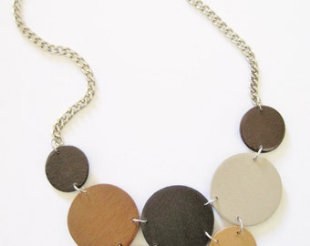 Modern geometric wooden necklace- in dark and light brown,beige, light gray- modern, contemporary, minimalist handmade jewelry- eco friendly