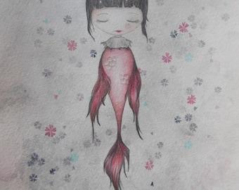 Japanese Mermaid - Dessin original aquarelle