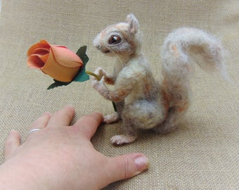 Needle Felted Squirrel, Model of a Squirrel, Woodland Animal, Woodland Creature, Soft Sculpture, Miniature Animal, Squirrel Ornament