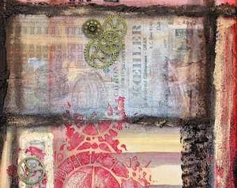 """Acrylic painting """"Time"""" collage Victorian steampunk industrial Gothic vintage style shabby acrylic paintings"""