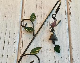SALE Mini Bird Wind Chime on Shepherds Hook, Fairy Garden Accessory, Miniature Garden Decor, Metal Garden Decor