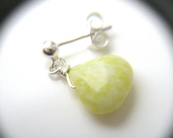 Yellow Jade Earrings Silver . Jade Stud Earrings Dangle . Small Stone Earrings . Teardrop Earrings Stud . Flower Girl Jewelry