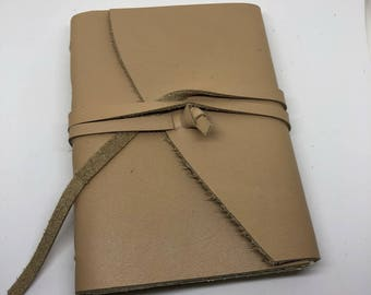 Light brown leather journal- 100%recycled linen paper