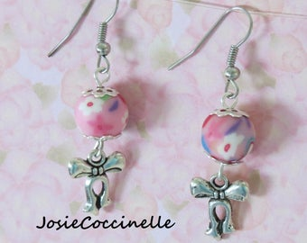 Terry & floral polymer clay earrings