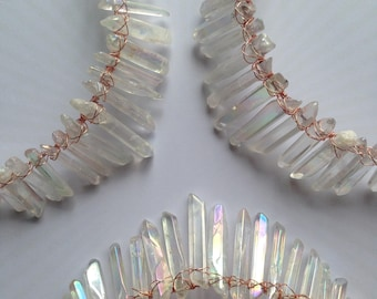 Healing Crystals Crown, Mermaid Crown, Super charge Clear Crystals, Festival fashion, Alt Wedding, brides,