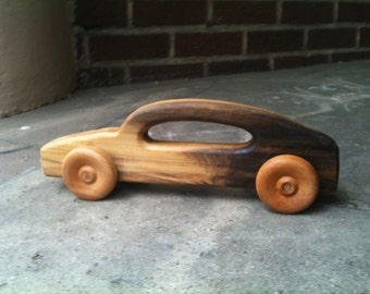 "Roll 'Em Car by BANDY. Large 12"" long body with handle, salvaged poplar body, maple wheels, oak axles, durable and fun"