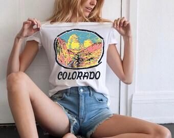 Colorado Vintage Inspired Souvenir Graphic T-Shirt - Vintage Inspired White Colorado Nature Tee