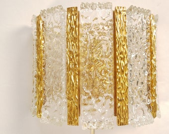 Marvellous wall sconce, wall lamp, Kalmar, glass / brass, 60s 70s, vintage