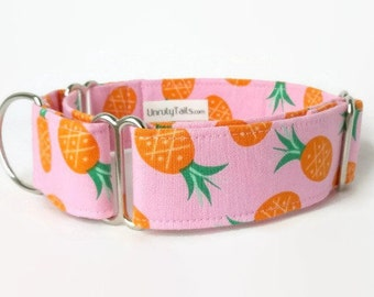 RARE *  Pineapples On Pink Adjustable Dog Collar - Martingale Collar or Side Release Buckle Collar   - Limited Quantities - Hawaiian Summer