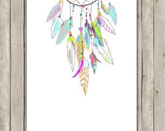 8x10 Dreamcatcher Art Print, Tribal Printable, Modern Wall Art, Poster,  Nursery Print