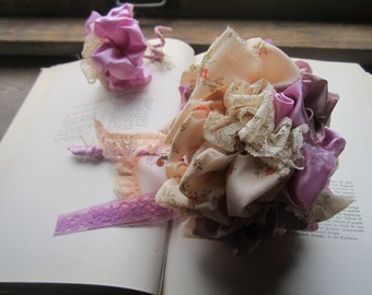 Wedding Bouquets, Vintage Fabric Wedding Poms, Peach and Lavender Fabric , Unique Brides , OOAK Bouquets * Pommery * Theme Weddings *