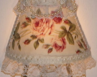 Pink and Burgundy Roses Country Cottage Chic NIGHT LIGHT with Ivory Ribbon Laces