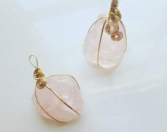 Rose quartz spiral pendants