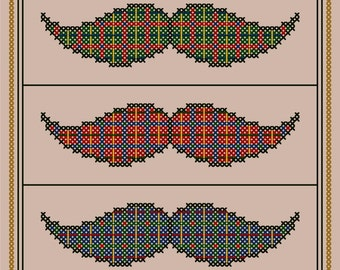 Three Plaid Mustaches - Original Cross Stitch Chart