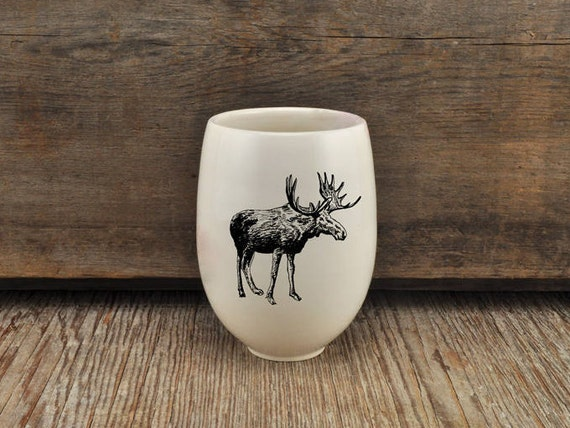 Handmade Porcelain wine tumbler with moose drawing Canadian Wildlife collection