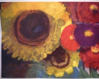 Sunflower Bouquet - Eric Nolde Print -  Expressionist art - gift for artists art lovers gardeners-- Spring flower print - floral decor