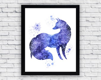 Fox Watercolor print, Fox Printable Wall Art, Fox wall decor, Fox poster
