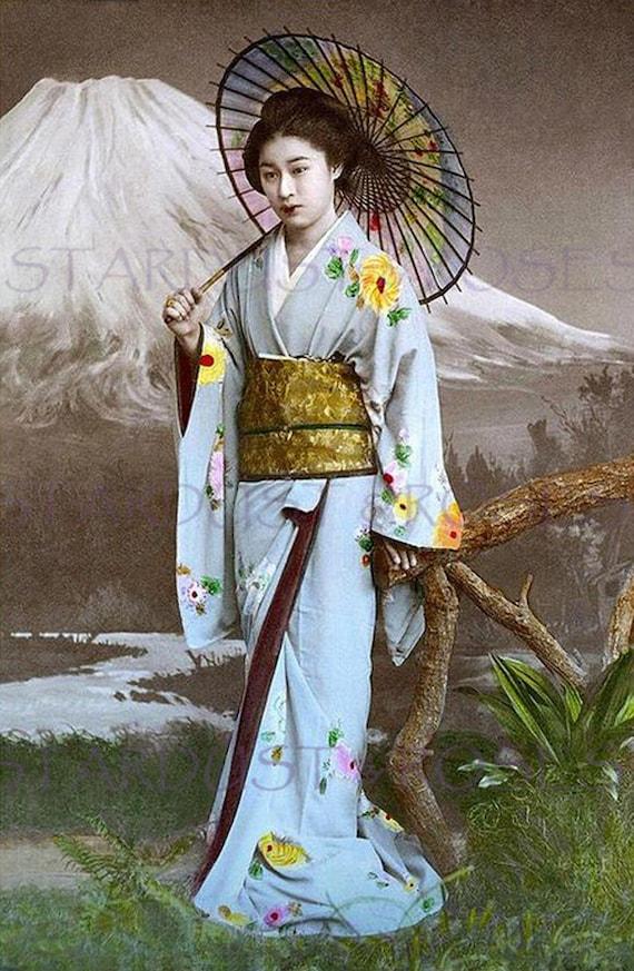 Japanese Photo Download Antique Geisha 1800s Woman Instant