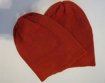 Slouchy Beanie Hat - Rust Orange/ Turquoise