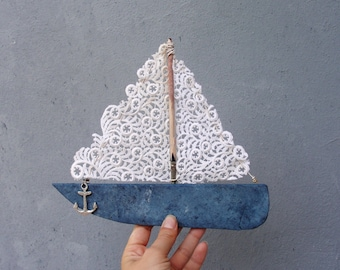 Sea Romance Boat - Beach Plastic, Driftwood, Vintage lace, Anchor, Textile, Beach Home Decor