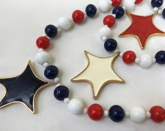Castlecliff Patriotic Fourth of July Red White and Blue Beads Enamel Stars Necklace – 1960s Jewelry