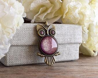 Owl pendant, Owl necklace, Plum glitter pendant, Boysenberry glitter necklace, Owl jewelry, Glass dome pendant necklace Woodland gift SJ 089