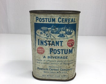 Instant Postum Vintage Cereal Beverage Tin Vintage Advertising Kitchen Decor