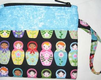 Russian Nesting Dolls Stacking Matryoshka Wristlet Custom Made Embroidered