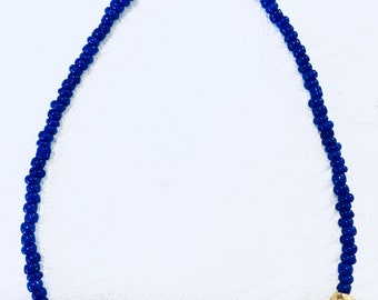 Grecian Style Gold & Blue Beaded Friendship Bracelet by ~EugeniaM~