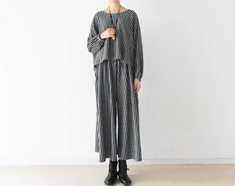 Womens Autumn Loose Fit Stripes Cotton Casual Two Pieces Set Long Sleeve Blouses And Loose Pants, Casual Tops And Loose Pants With Pockets